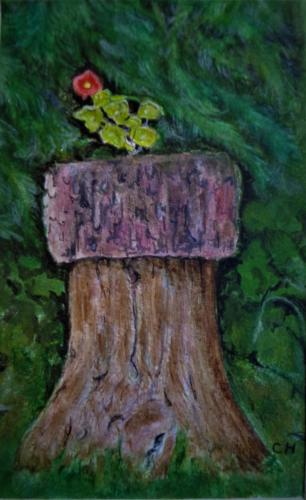 Nasturtium on a stump