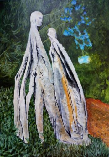 """Wooden figure, Mendip Hospita Cemetery (II)"