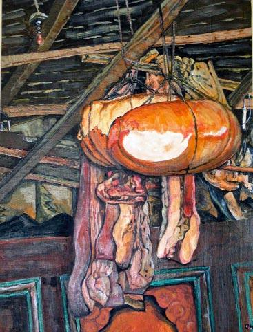 Dried meats in Tibetan House